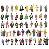 Hiawbon 50 Pcs People Figurines Set Tiny Sitting and Standing Delicate Hand Painted People Model Train Park Street People Fig