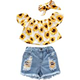 Toddler Kids Summer 2Pcs Baby Girl Off Shoulder Lace Flower Sling Tops with Ripped Shorts Jeans Clothes Set