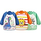 Toddler Baby Waterproof Apron Sleeved Bib, Bib with Sleeves&Pocket, 6-36 Months,Set of 3 Soft material Cute Animals Paintings