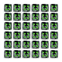 Chessex Dice d6 Sets: Gemini Black & Grey / Gray with Green - 12mm Six Sided Die (36) Block of Dice by Chessex
