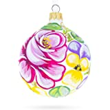 BestPysanky Pink Roses Glass Ball Christmas Ornament
