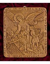 ガーディアンエンジェルの子の手彫りAromatic Greekロシア正教Plaque Made withピュア蜜蝋、Mastic and IncenseからマウントAthos