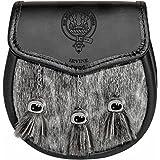 Irvine Semi Dress Sporran Fur Plain Leather Flap Scottish Clan Crest
