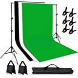 VOLKWELL Photo Backdrop Stand Kit Support System, 2M x 3M 3PCS Muslin Backdrop, 2M x 3M Adjustable Backdrop Stand Free Carryi