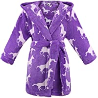 Arctic Paw Children Hooded Flannel Fleece Bathrobe Girls Robe w/Side Pockets,Unicorns,XL
