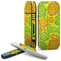 IQOS 2.4 plus 専用スキンシール COMPLETE アイコス 全面セット サイド ボタン デコ フラワー 花 黄色 緑 004067