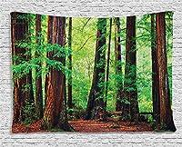 Bigleader森林のタペストリー、レッドウッドの木北西部の熱帯雨林熱帯の風光明媚な野生の自然豊かな枝創造的な家の装飾壁掛けタペストリー150x100cm