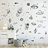 Wall Decor for Boys Room Art Outer Space Star Rockets Planets Stickers Removable Space Wall Decal for Children Bedroom Decora