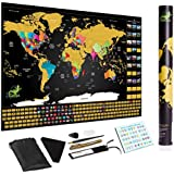 Scratch Off World Map, Ultimate Premium, Deluxe,Glossy by 2Gecko with Tube Packaging, scratch tool and Highlighter Pen; Perfect Gift for Traveler & Wall Decoration (Black Gold Glossy)