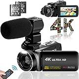 ビデオカメラ 4K YouTubeカメラ3000万画素 デジタルビデオカメラ ユーチューブカメラ 外付けマイク LEDフィルライト 18倍デジタルズーム 予備バッテリー 3インチタッチモニター 日本語システム+説明書(ベシックセット)