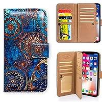 iPhone XR用,アイフォン XR ケース,Bcov 良質PUレザーケース 横開き 手帳型 二つ折り 九枚カード収納ポケット スタンド機能 保護ケース サークル フラワー ゴールド