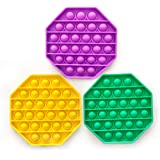Push pop Bubble Fidget Sensory Toy, Relieve Stress and Help Restore Mood,Octagonal, for Home School Office (3 pcs of Yellow,