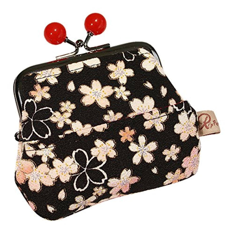 4ポケット 和柄がま口財布 小桜 黒