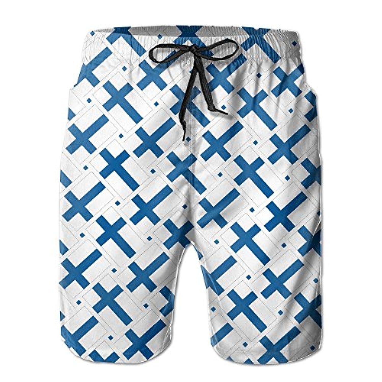 フィンランドの旗 メンズ サーフパンツ 水陸両用 水着 海パン ビーチパンツ 短パン ショーツ ショートパンツ 大きいサイズ ハワイ風 アロハ 大人気 おしゃれ 通気 速乾