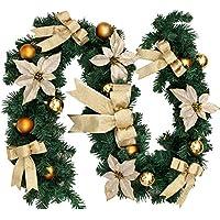 bennyue クリスマス ガーランド クリスマスリース  クリスマス飾り 置物 パーティー装飾藤 クリスマス オーナメント クリスマスツリー装飾 グリーン 松の葉モール 部屋 玄関 飾り 装飾品 華やか(ゴールド)