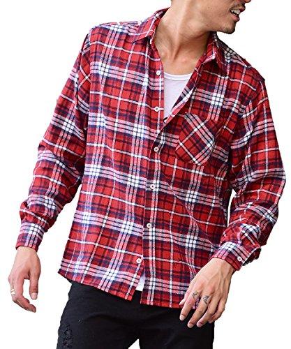マイノリティセレクト(MinoriTY SELECT) ネルシャツ メンズ チェック ネル シャツ 長袖 赤 黒 M J柄(22)