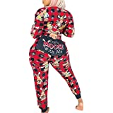 Women's One Piece Onsie Sleepwear Reindeer Unicorn Family Matching Christmas Pajamas Jumpsuit Rompers Clubwear
