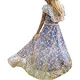 Women Beach Off Shoulder Ruffles Chic Dress Boho Maxi Sundress