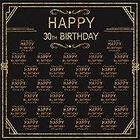 LFEEY 写真撮影用背景幕 5×5フィート 光沢 30歳の誕生日 男性 女性 30歳の誕生日パーティー用 写真撮影用背景 ビニール 写真スタジオ小道具