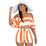 YANHUO Women Two Piece Outfits Sexy Off Shoulder Stripe Crop Cami Top with Shorts
