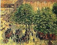 手書き-キャンバスの油絵 - 美術大学の先生直筆 - place du theatre francais spring 1898 カミーユ・ピサロ 絵画 洋画 複製画 ウォールアートデコレーション -サイズ09