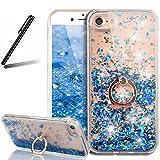 iPhone 7 Plus ケース,iPhone 7 Plus 流れる 液体 ケース,iPhone 7 Plus カバー,SKYMARS iPhone 7 Plus カバー 衝撃防止 スタンド機能式 携帯カバー 流れる フローティング ラグジュアリー グリッター ス バンパー ケース iPhone 7 Plus カバー カバー (Rotating Blue)