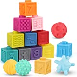 Nueplay Baby Blocks Toys Early Learning Building Blocks Ball Set Teethers Babies Bath Toys Squeeze Play with Numbers Shapes A