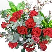 シンプルな赤系のバラの花束 10本季節のグリーン付き(生花)【お祝い・記念日・誕生日・フラワーギフト・バラ】