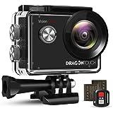 Dragon Touch アクションカメラ 4K高画質 2000万画素 SONYセンサー 手ぶれ補正 Wi-Fi リモコン付き ダイビング 30M防水 水中カメラ 外部マイク対応 1050mAhバッテリー2個 ウェアラブルカメラ 小型 170°広角レ