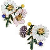 Szxc Women's Daisy Flower Leaves Mushroom Hypoallergenic Stud Earrings - Enamel & Crystals - 4/5 Inch - Ultra Light
