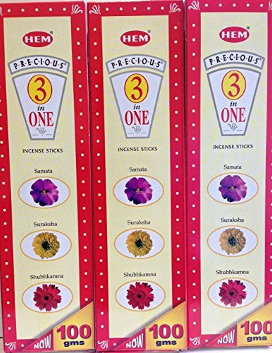 作業扱いやすい分類Hem Precious 3 in 1 Incense Sticks 100 g x 3パック( 75 sticks per pack x 3 )