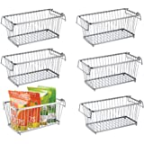 mDesign Open Wire Kitchen Storage Basket for Pantry Items Canned Food - Pack of 6 12 Silver