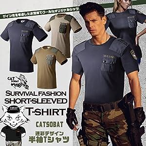 Catsobat U.S.ARMY 陸軍 サバイバルファッション半袖Tシャツ (XLサイズ(175-180), タイプ3)