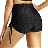 KOSUSANILL Bubble Butt Lifting Shorts for Women High Waist Ruched Drawstring Tummy Control Workout Yoga Running Pants
