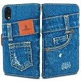 「UK Trident」本格デニム iPhone XR 手帳型アイフォンケース(アイフォンXRケース)