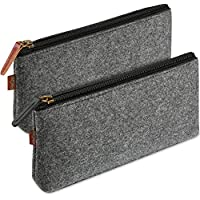 ProCase Pencil Bag Pen Case, Felt Students Stationery Pouch Zipper Bag for Pens, Pencils, Highlighters, Gel Pen, Markers, Eraser and Other School Supplies -2 Pack