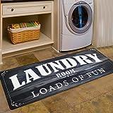 Abreeze Vintage Rug for Laundry Room Nonslip Rubber Backer Mat Floor Runner Durable Carpet Waterproof Kitchen Mats (20''x48''