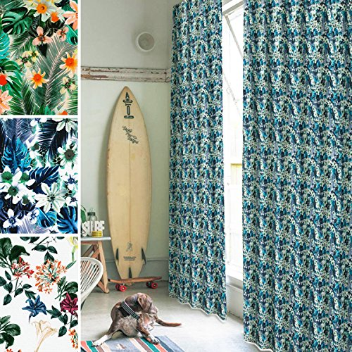 【リアルプリントカーテン】美しいフラワープリントが咲き誇るデザイン防炎遮光カーテン「アート デ ブルーム」サイズ:幅100×丈105cm×2枚 柄:トロピカルブルー / Aフック