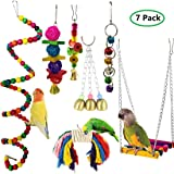 MQFORU 7pcs Bird Swing, Parrot Cage Toys,Swing Hanging Toys with Bell Pet Bird Cage Hammock Swing Toy Hanging Perch Toy for G