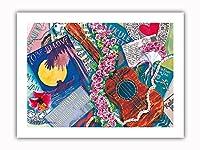 スウィートロケラニ - ハワイアンウクレレ、ロケラニ(ピンクダマスク) - オリジナルハワイ水彩画から によって作成された ペギー チュン - プレミアム290gsmジークレーアートプリント - 30.5cm x 41cm