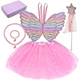 ShaqMars Halloween Girls Princess Dress up Cute Fairy Costume Set with Wings Tutu Wand Necklace Bracelet for Girls Ages 2-8 P