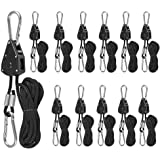 """6 Pairs 1/8"""" Heavy Duty Ratchet Ropes, Adjustable Rope Ratchet Hanger, Grow Light Rope Hangers for Grow Plant Fan Filter Ligh"""