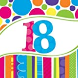 Creative Converting Bright and Bold 8 Count 40th Birthday Invitations Luncheon HBD