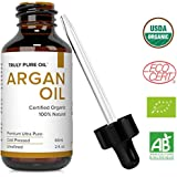 Truly Pure Oil Organic Argan Oil For Hair, Skin, Face and Nails, 100% Natural Argon, Cold Pressed, Unrefined, Eco & USDA Cert