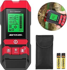 Meterk 下地センサー 下地探し 木材水分計 デジタル探知機 高感度センサー スタッド 金属/AC電源/木材探知 水分検出 防災 引っ越し 乾電池式電動工具 4in1