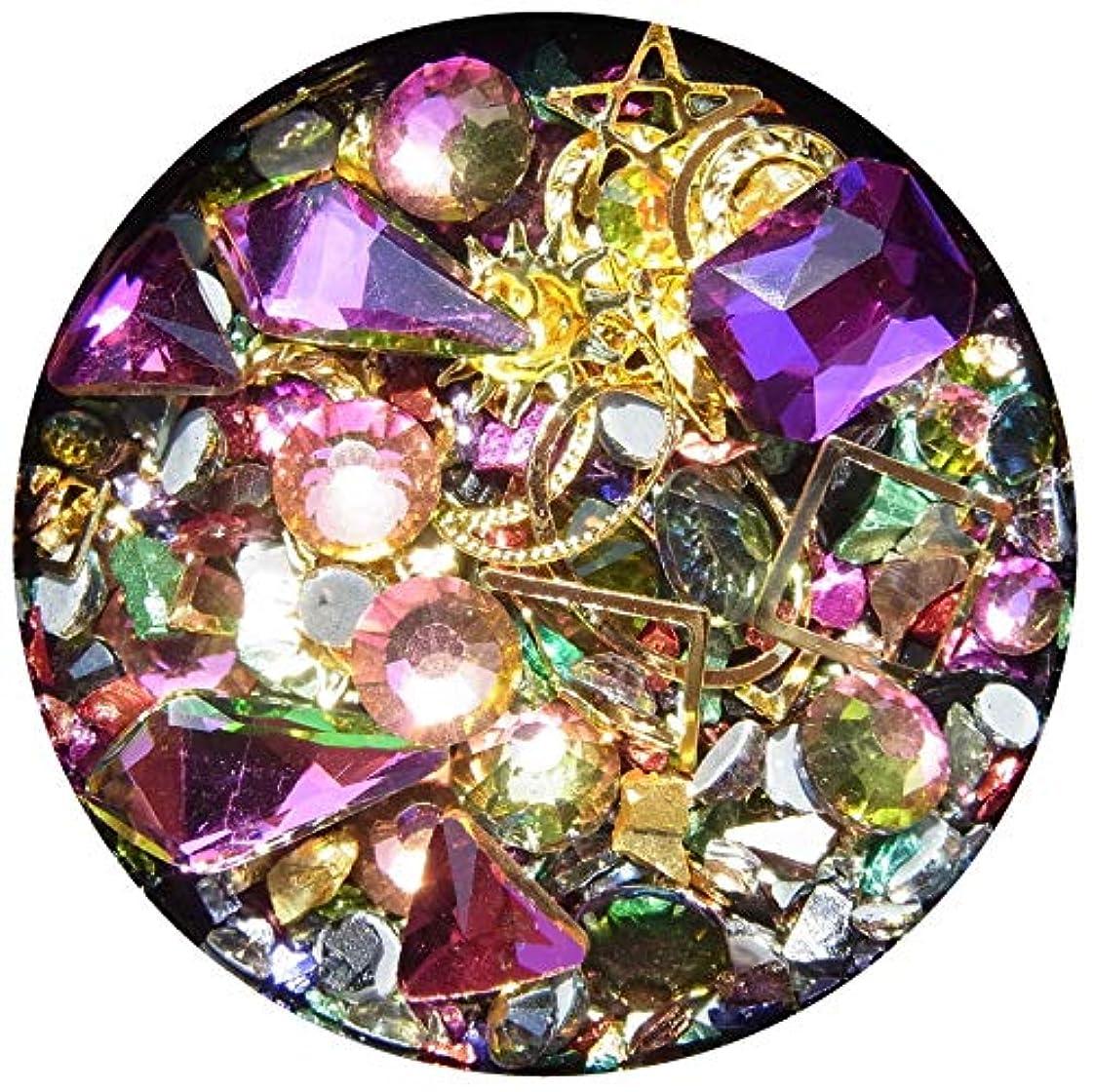 タオル給料コンドーム【jewel】メタルパーツ ミックス ラインストーン カーブ付きフレーム ゴールド ネイルアートパーツ レジン (4)