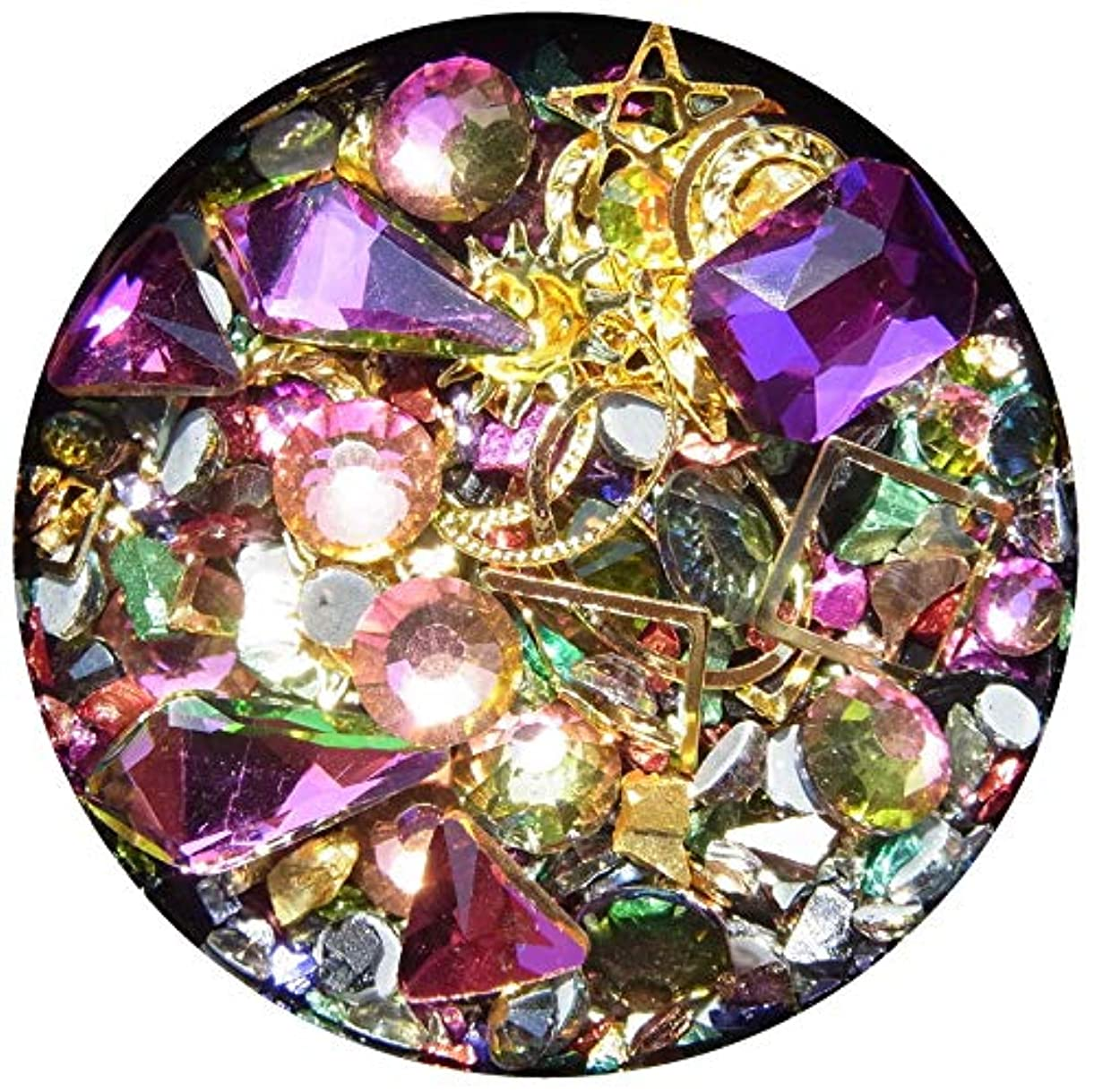 背が高い飛躍売る【jewel】メタルパーツ ミックス ラインストーン カーブ付きフレーム ゴールド ネイルアートパーツ レジン (4)