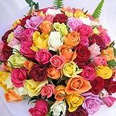 お誕生日用カード付き 100本のバラの花束 PARISテイスト!生花