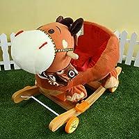 Vercart Kids Modern Plush Cute Cartoon Animal Rockerホイール子供Horse Ride On CouchおもちゃRocking Chairブラウン