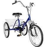 Areyourshop Adult 3-Wheel Tricycle Cruise Bike Bicycle with Basket